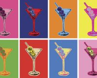 Poster med martiniglas i olika färger